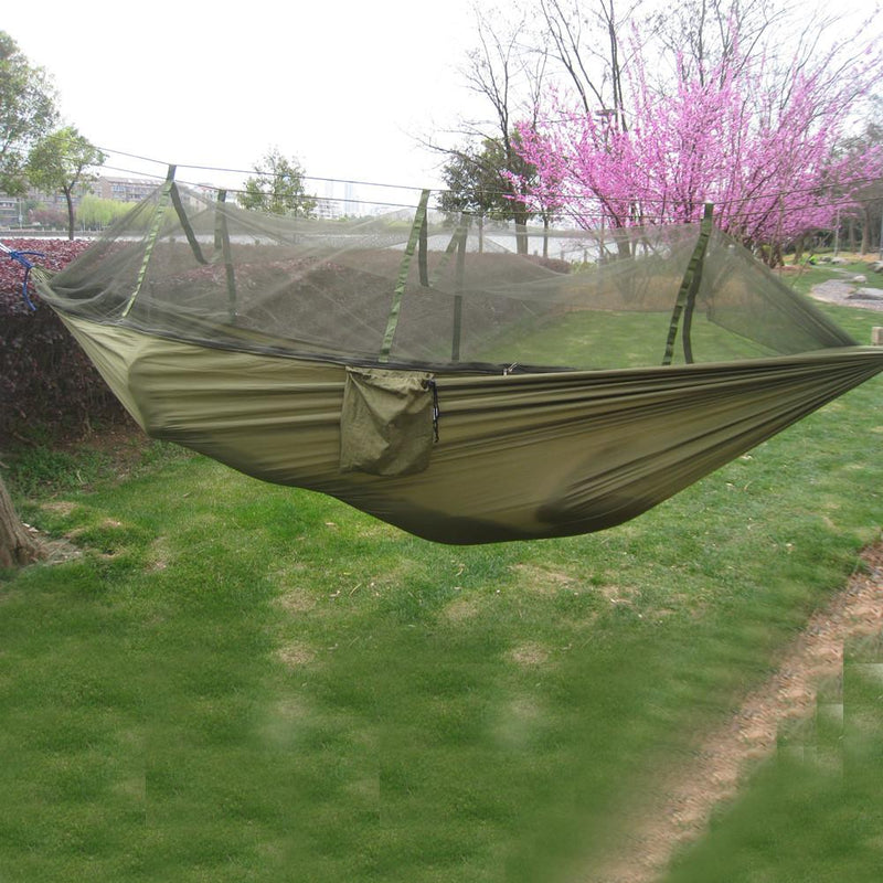 Portable Tactical 300kg Travel Camping Outdoor Fabric Hammock Hanging Nylon Bed with Mosquito Net