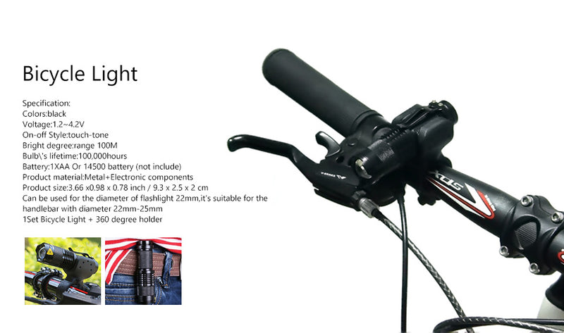 7 Watt 2000 Lumens 3 Mode Q5 LED Tactical Flash Light and bike adaptor use as a Bike light Waterproof flashlight BL0502