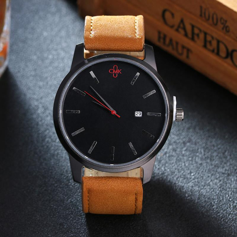 Luxurious Retro Watch for Men with Analog Display and Genuine Leather Strap
