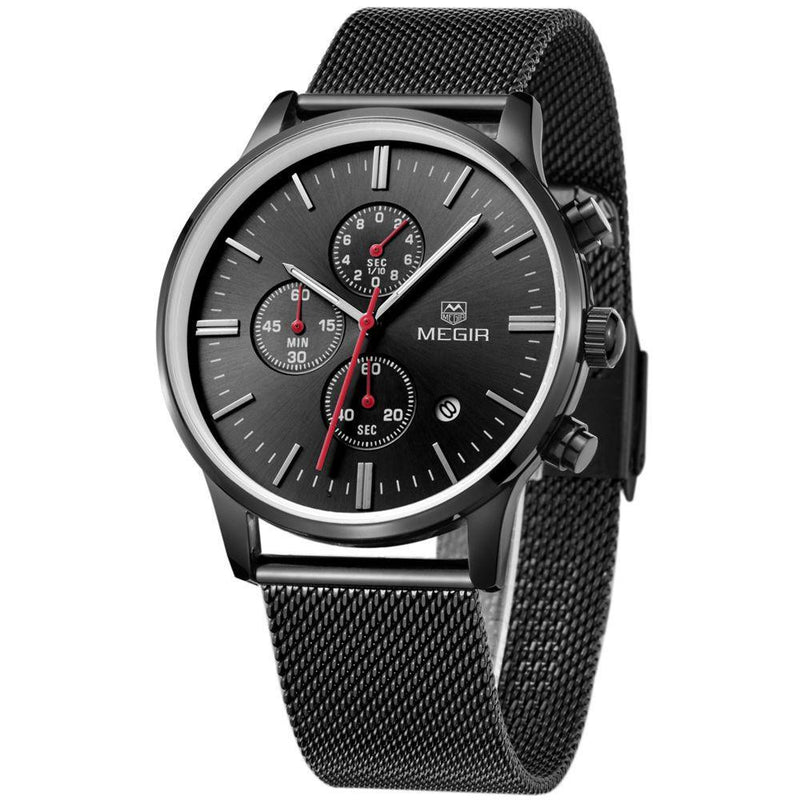 Elegant MGR Mens Casual Fashion Watch with Stainless Steel Mesh Strap and Slim Time Dial