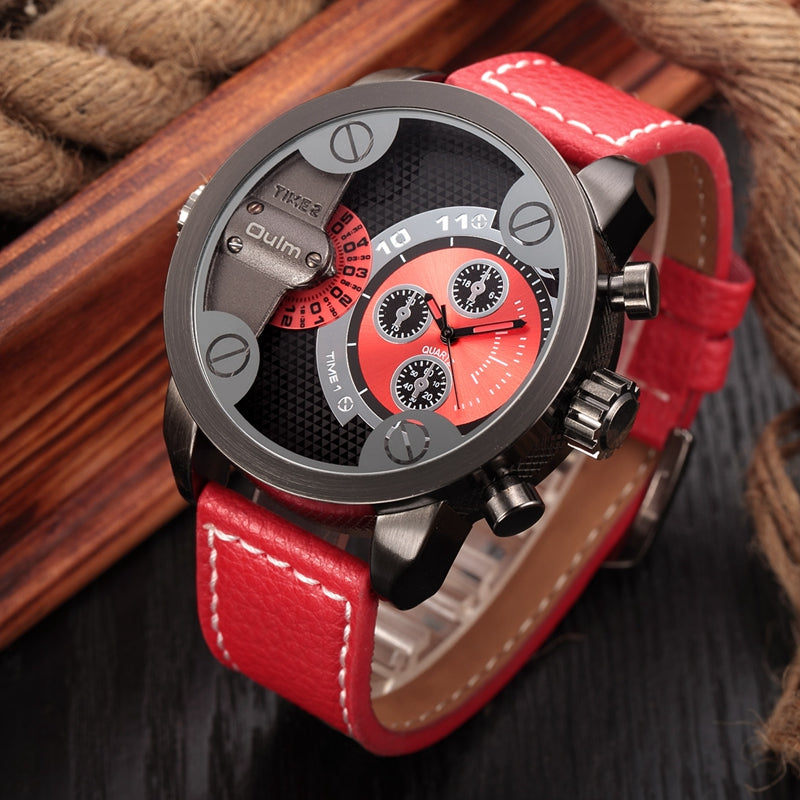 Oulm Leather Watch Military Sports Quartz Watch