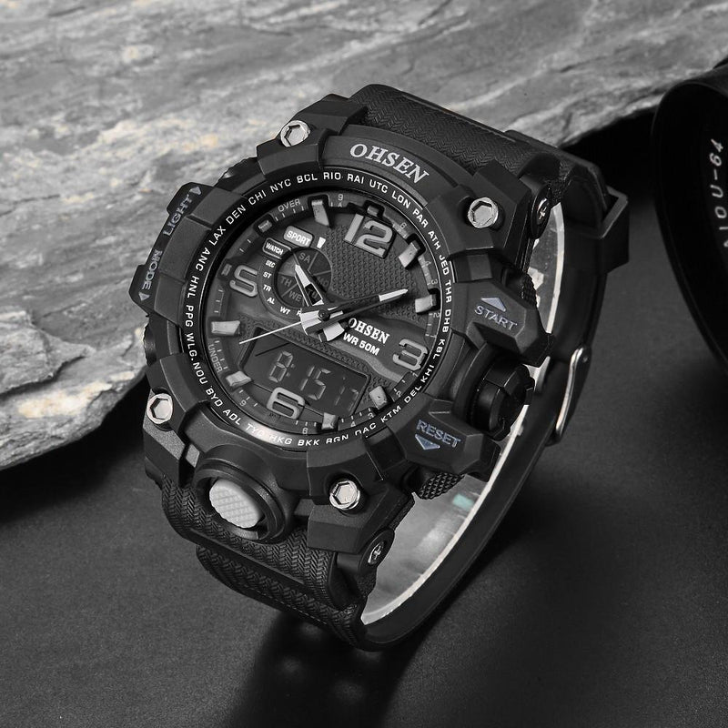 Ultra Tough Men's Military Sports Watch Digital Analog Army Quartz 50M Water Resistant - Gogobomo Gear