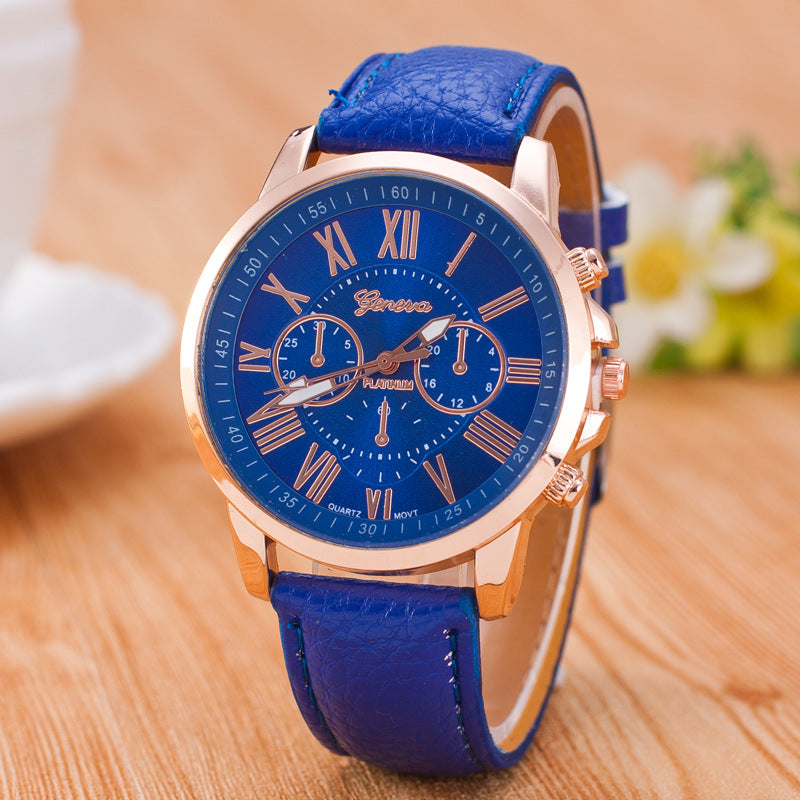 New Beautiful GENEVA Watch for Women with Analog Display and Genuine Leather Strap