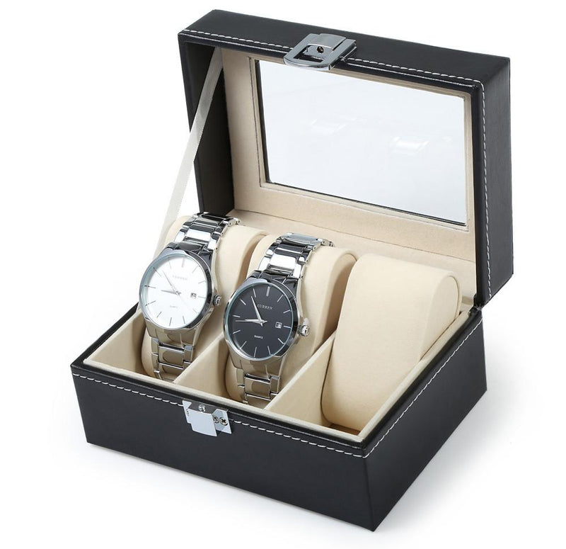 Black PVC Leather 3 Grid Watch Display Storage Box Case with Transparent Top - Gogobomo Gear