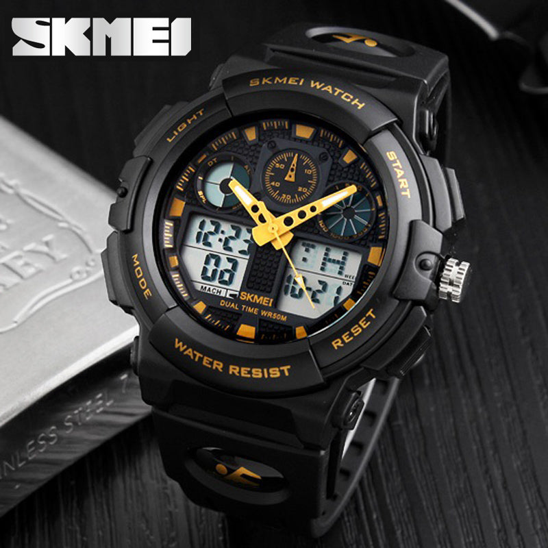 Military Inspired Men's LED Multifunction 50M Waterproof Sports Watch