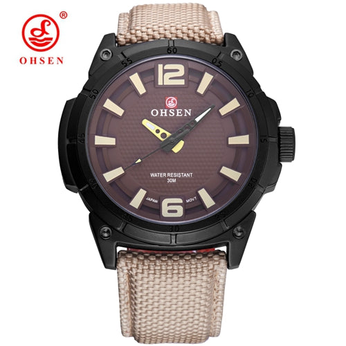 Uber Tough Large Dial Men's Canvas & Leather Band Wrist Watch