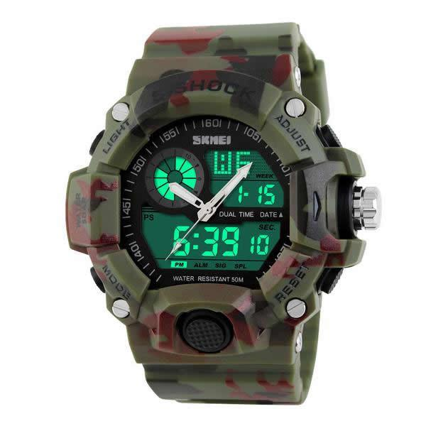 Men's Camo LED Sports Watch Military Army Quartz Digital Analog Watches - Gogobomo Gear