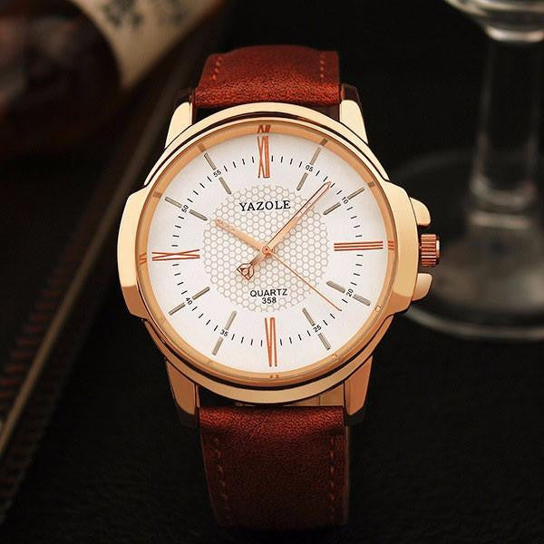 Brand New Luxury YAZOLE Watch for Men with Analog Display and Genuine Leather Strap