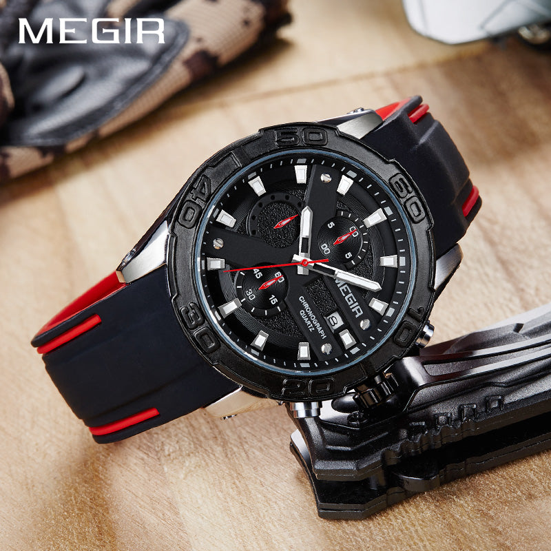 Men's Silicone Band Military Army Wrist Watch with Chronograph