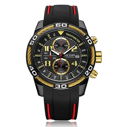 Men's Chronograph Military Waterproof Sports Watch with Silicone Band
