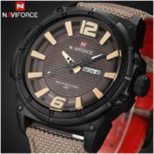 Classic NAVIFORCE Watch for Men with Analog Display and Genuine Leather-Fabric Strap