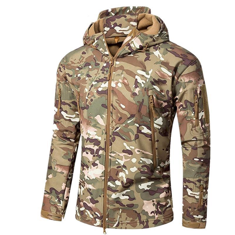 Versatile Shark Skin Tactical Hooded Jacket for Men