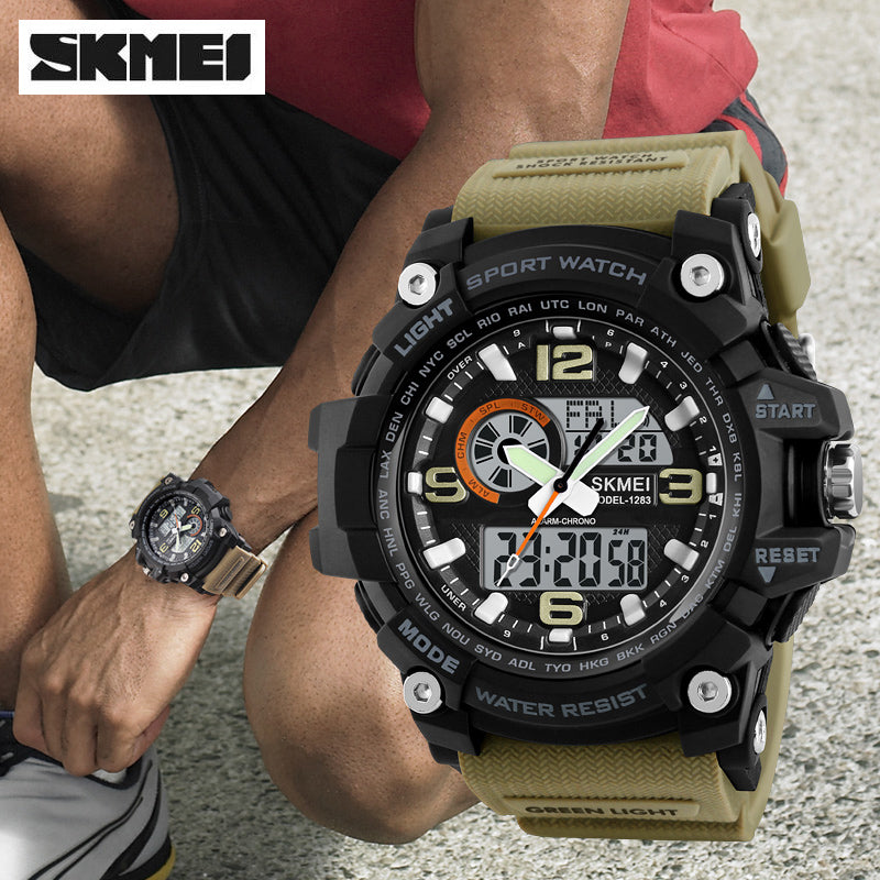 Men's Military Dual Display Waterproof Digital Analog Sports Watch
