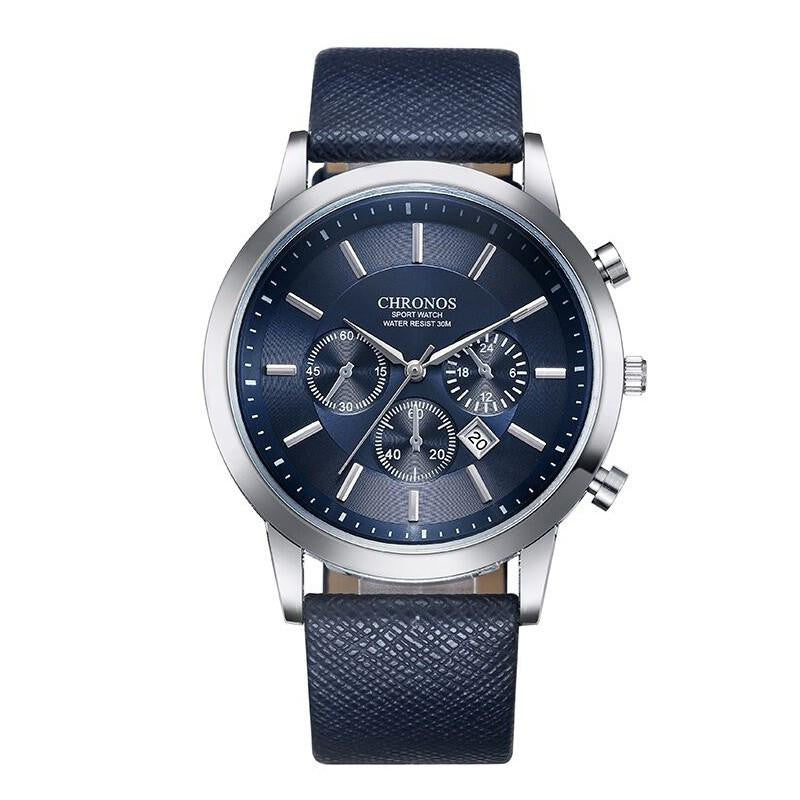 Super Edgy CHRONOS Watch for Men with Analog Display and Premium Leather Strap