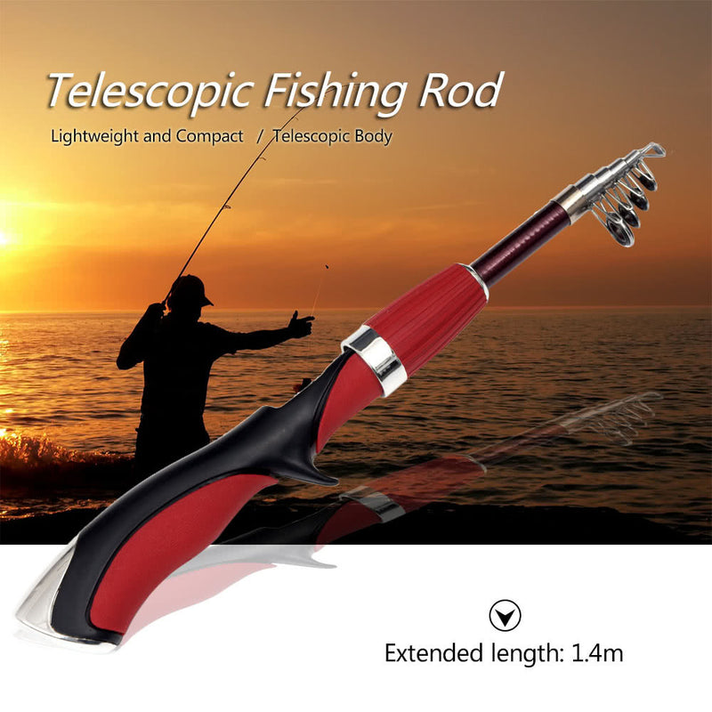 1.4m Telescopic Mini Fishing Rod Folding Rod Pole Portable Fishing Rod Fishing Tackle