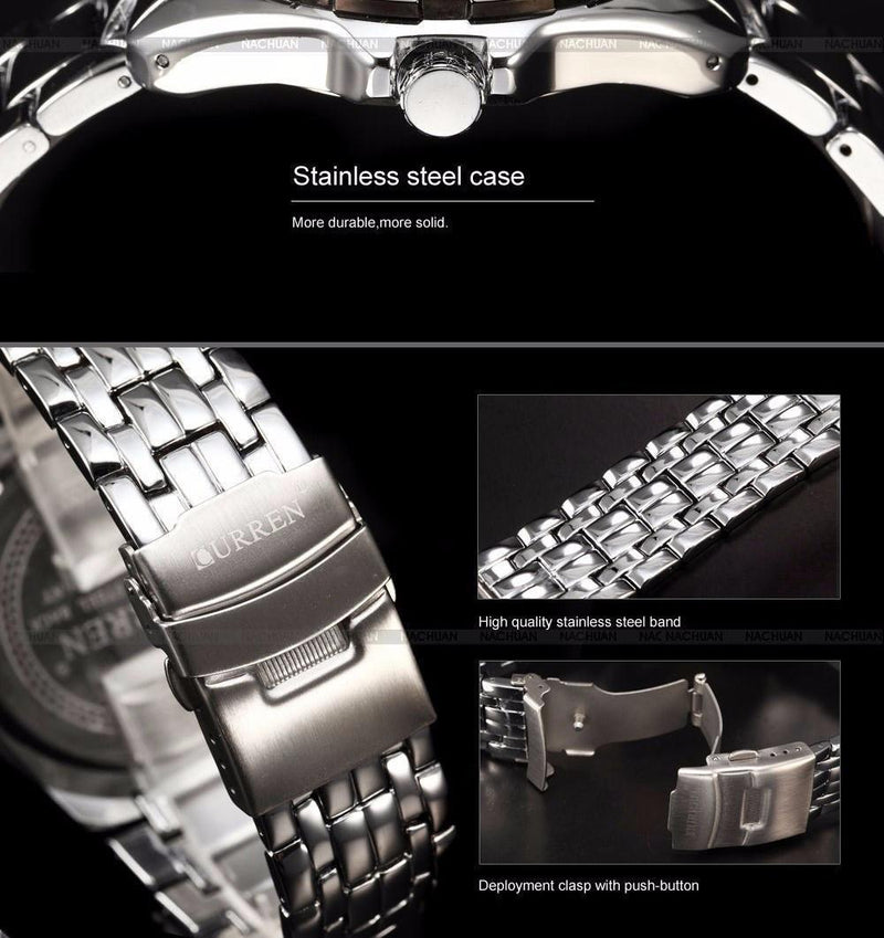New Curren Men's Solid Steel Military Sports Watch