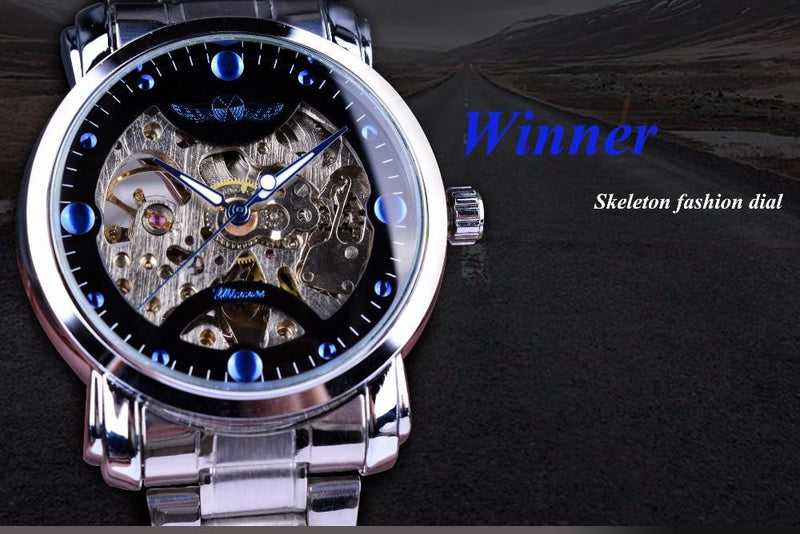 Exquisite Looking Skeleton Mechanical Watch for Men with Stainless Steel Strap