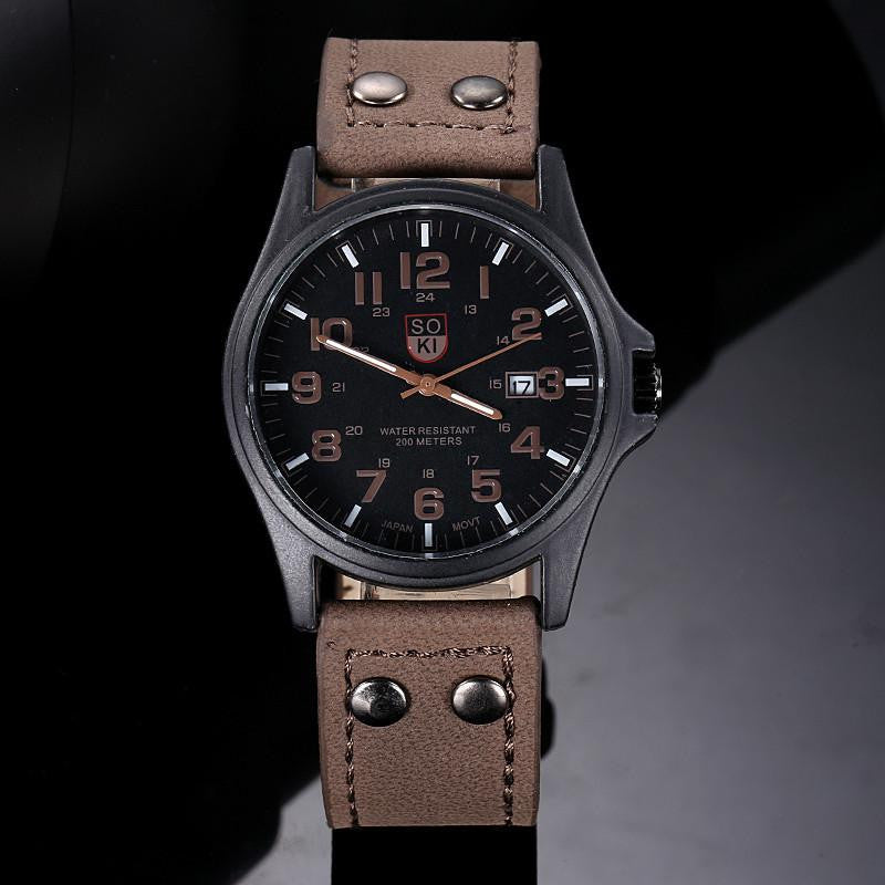 Vintage Classic Watch for Men with Analog Display and Premium Leather Strap