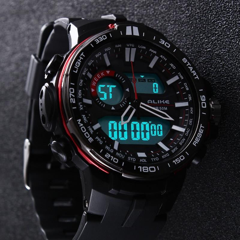 New ALIKE Outdoor Military Sports Watch For Men with Bright LED Digital and Analog Display