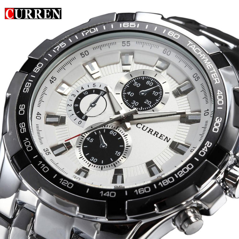 Men's Luxury Casual Watch Full Stainless Steel Strap Military Quartz Watches Wristwatch Waterproof - Gogobomo Gear