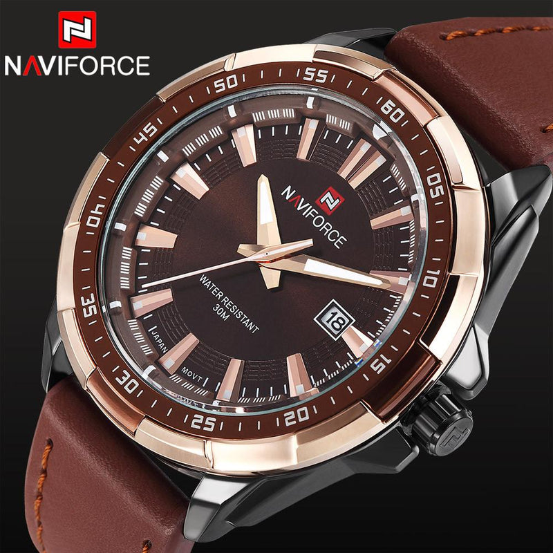 Hard Steel Naviforce Men's Steel Case Watch with Soft Leather Strap