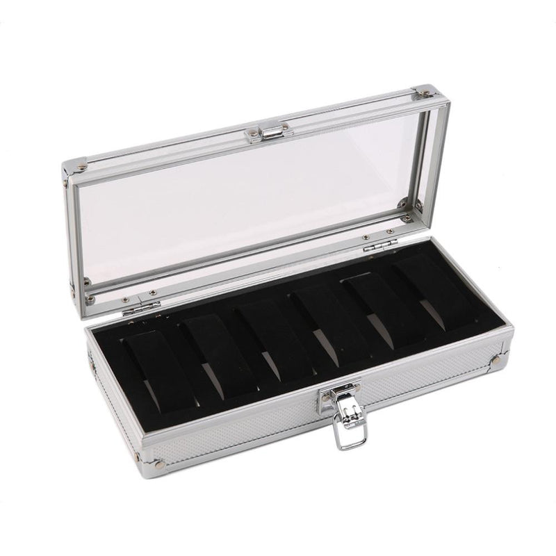 Aluminum 6 Grid Watch Display Storage Box Case with Transparent Top - Gogobomo Gear