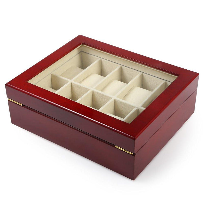 Red Wooden 10 Grid Watch Display Storage Box Case with Transparent Top - Gogobomo Gear
