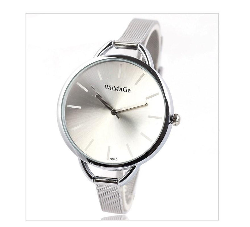 Women's Luxury Watch Elegant Slim Silver Mesh Steel Band - Gogobomo Gear