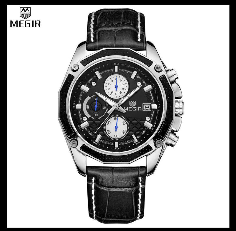 Genuine MEGIR Watch for Men with Analog Display and Premium Leather Strap