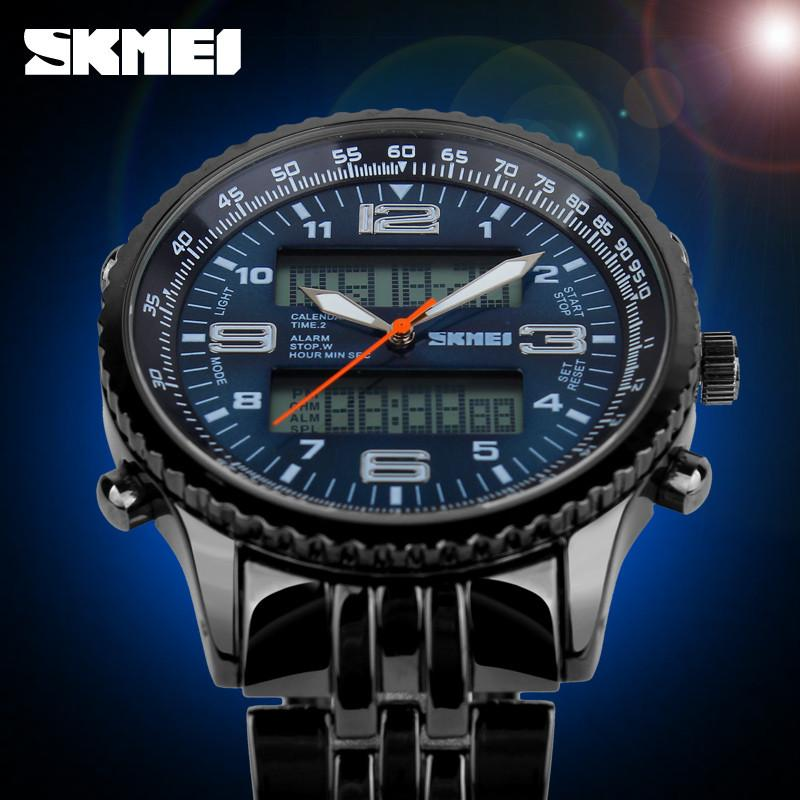 SKMEI Men's Watch Black Stainless Full Steel Strap Wristwatch Quartz Waterproof - Gogobomo Gear