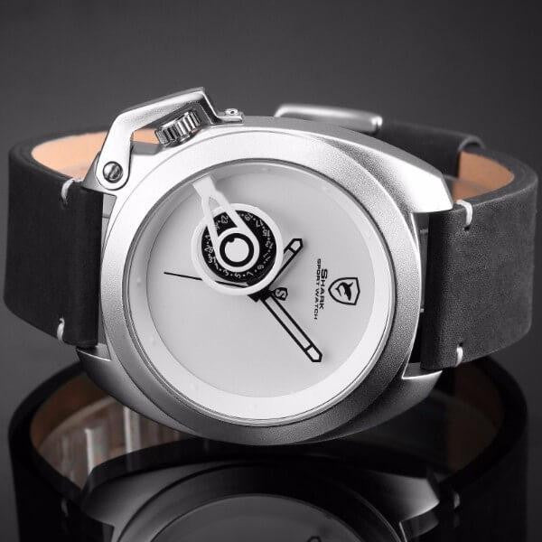 Men's Official Shark Tawny Luxury Minimalist Leather Sport Watch