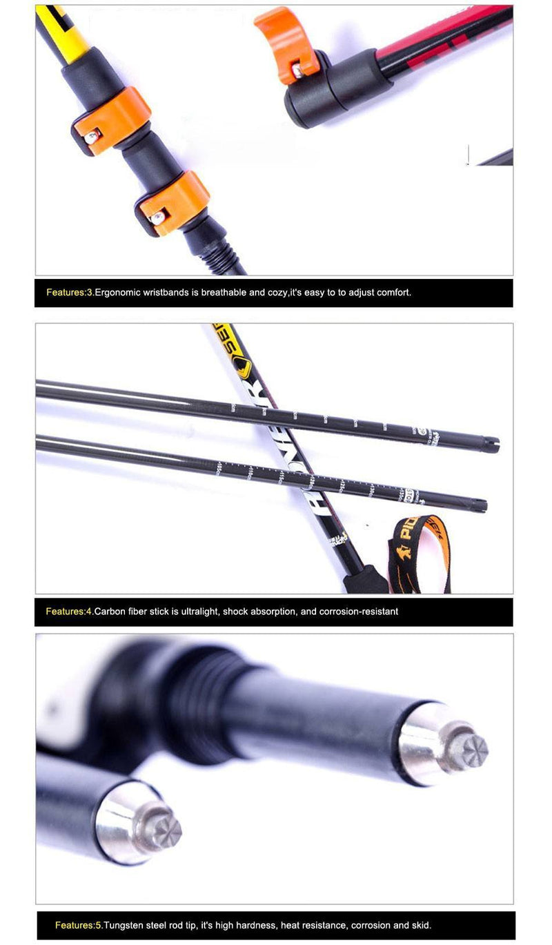 Ultra-light Adjustable Alpenstock Walking Stick Carbon Fiber Pole - Gogobomo Gear