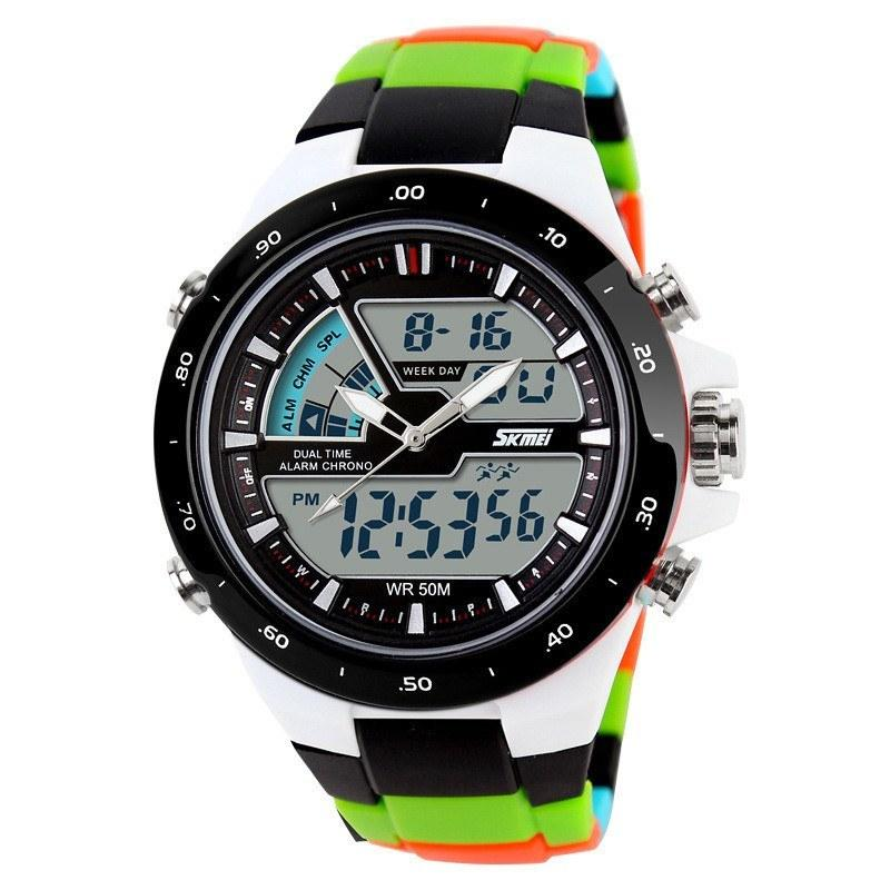 50M Waterproof Mens Sports Watch Digital Analog Rubber Band Shockproof Wristwatches - Gogobomo Gear