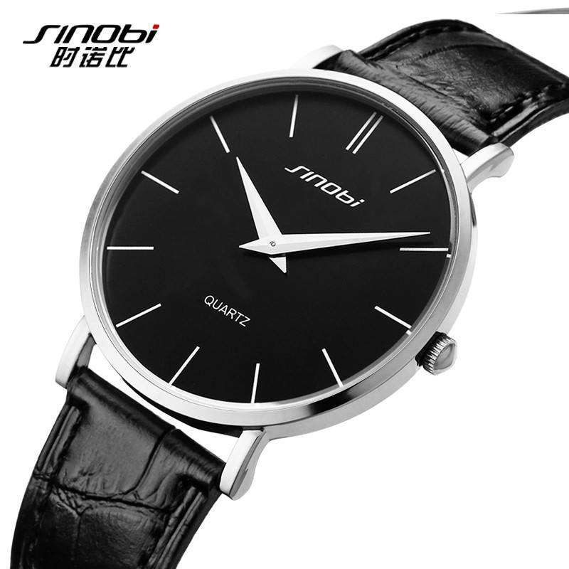 Classic Quartz Casual Wristwatch Busness Men Genuine Leather Analog Gift Watch - Gogobomo Gear