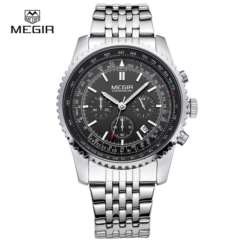 Megir Men's Waterproof Watch Men Quartz Watches Stainless Steel Strap Business Wristwatches - Gogobomo Gear