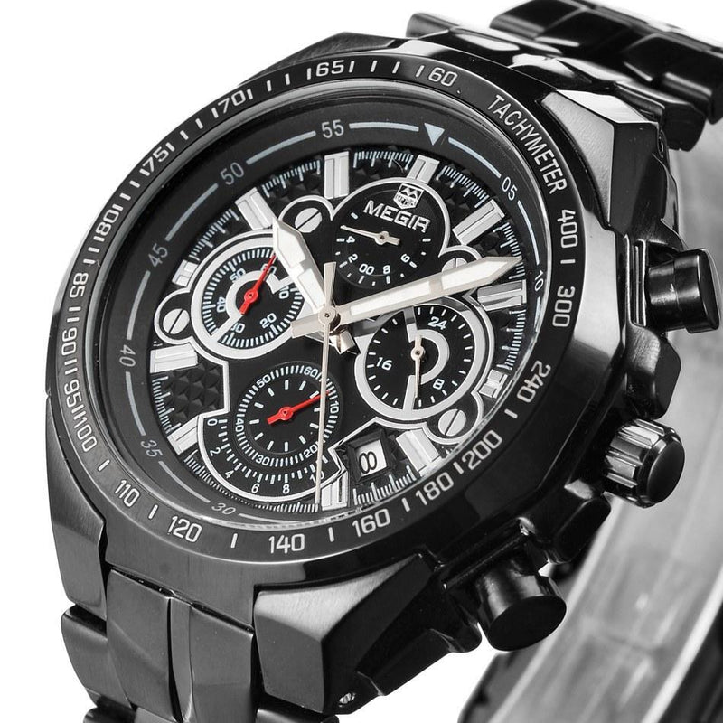 Men's Luxury Waterproof Sports Watch Military Steel Band Multifunction Chronograph Watches - Gogobomo Gear