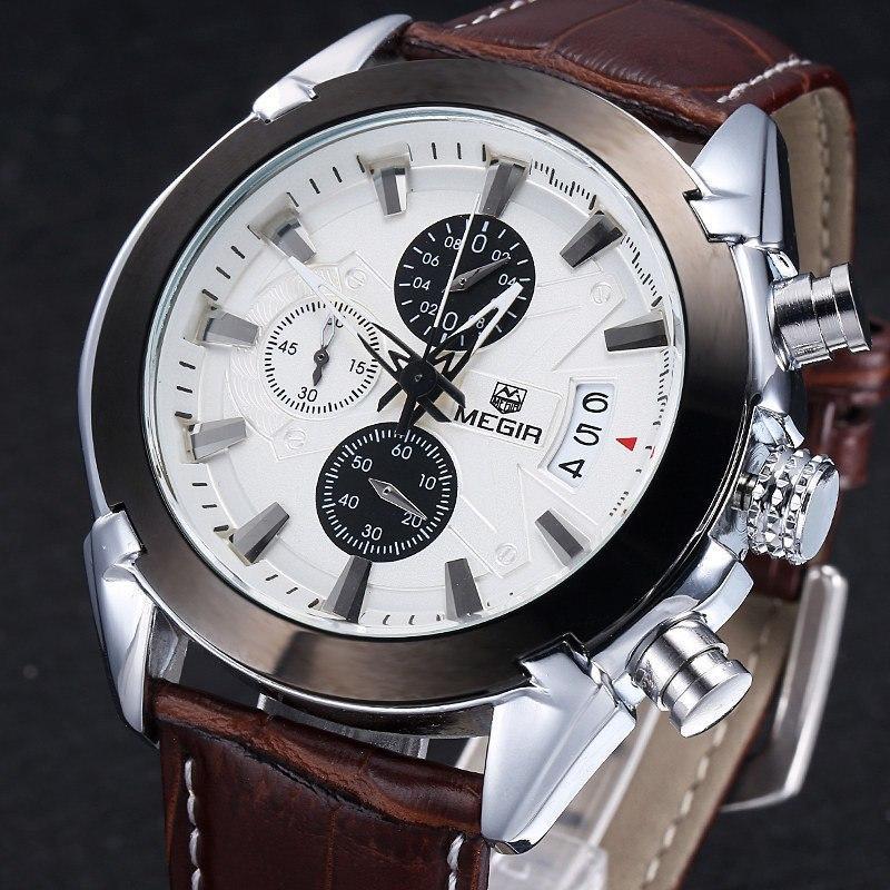 Men's MEGIR Chronograph Function Titan Watch Genuine Leather Luxury Men's Military Watches - Gogobomo Gear