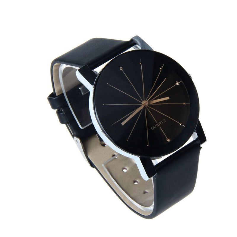 Men's Quartz Dial Clock Leather Wrist Watch Round Case - Gogobomo Gear