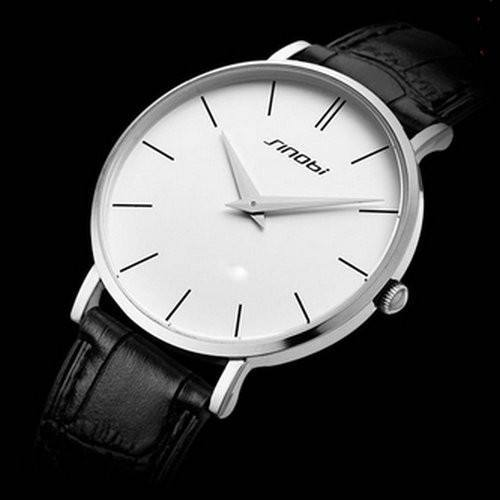 Men's Super Slim Quartz Casual Wristwatch Business Genuine Leather Analog Watches - Gogobomo Gear
