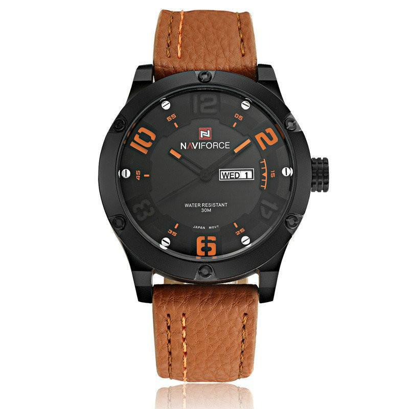 Naviforce Men's Casual Watch Men Military Quartz Analog Date Clock Wrist Watches Leather Band - Gogobomo Gear