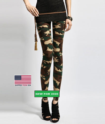 Army Green Camouflage Printed Elastic Leggings (Small to Medium)