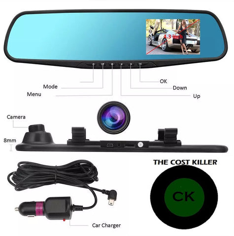 DVR Mirror Dash Cam Recorder+Rear View Camera Kit
