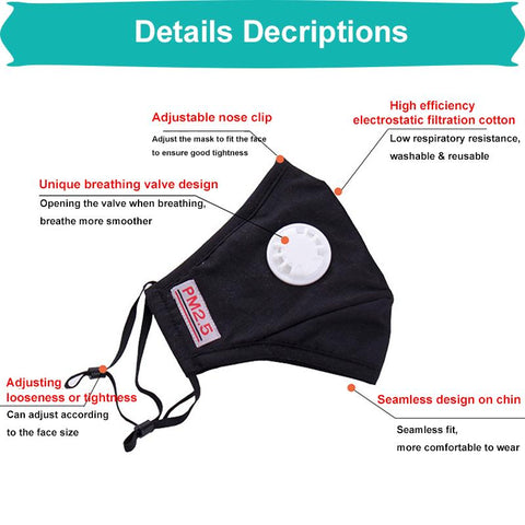 Reusable Unisex Cotton Face Masks With Breath Valve