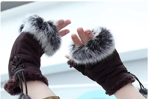Rabbit Fur Fingerless Gloves