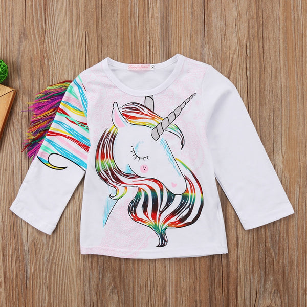 Unique Toddler Girl's Casual Long Sleeve Unicorn Top Shirt