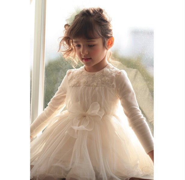 Long Sleeve White Lace Tutu Dress
