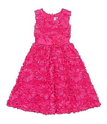 Rare Editions Fuchsia Sequins Soutache Dress