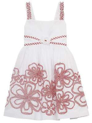 Rare Editions White Woven Sundress with Red/White Floral Soutach