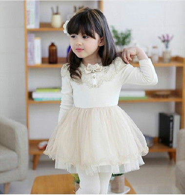 Cream Ivory & Gold Long Sleeve Tutu Dress