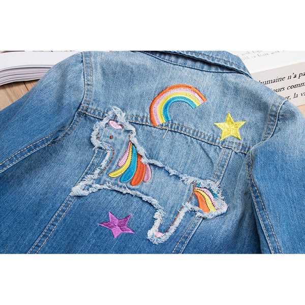 Girl's Denim Jean Jacket with Embroidered Rainbow Unicorn